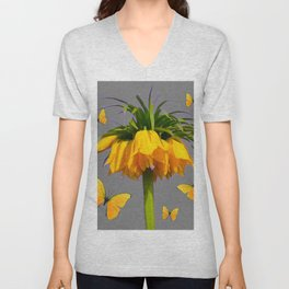 BUTTERFLIES YELLOW CROWN IMPERIAL FLOWERS Unisex V-Neck