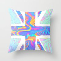 holographic Throw Pillows featuring Holographic Union Jack  by Berberism