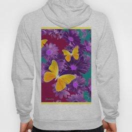 PURPLE FLOWERS YELLOW BUTTERFLIES TEAL GARDEN Hoody