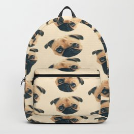 cartoon cute puppy dog fawn pug pattern Backpack