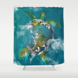 Earth Turtle Shower Curtain