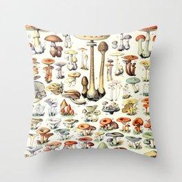 Adolphe Millot - Champignons B - French vintage poster Throw Pillow