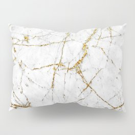 Gold Glitter and White Marble Pillow Sham