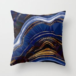 Blue Gold Marble Low Poly Geometric Triangle Art Throw Pillow