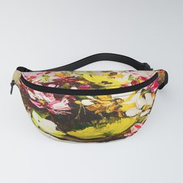 Bright Summer Bouquet In A Yellow Vase  Fanny Pack