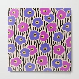 Mid Century Modern Wild Flowers Pattern Pink and Purple Metal Print