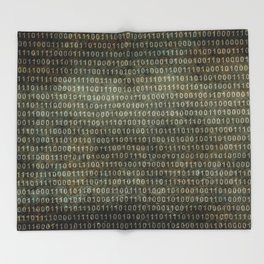 Binary Code with grungy textures Throw Blanket