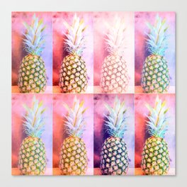 Colorful Pineapple Collage Canvas Print