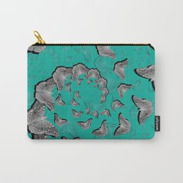 A swirl of gray butterflies on teal background Carry-All Pouch