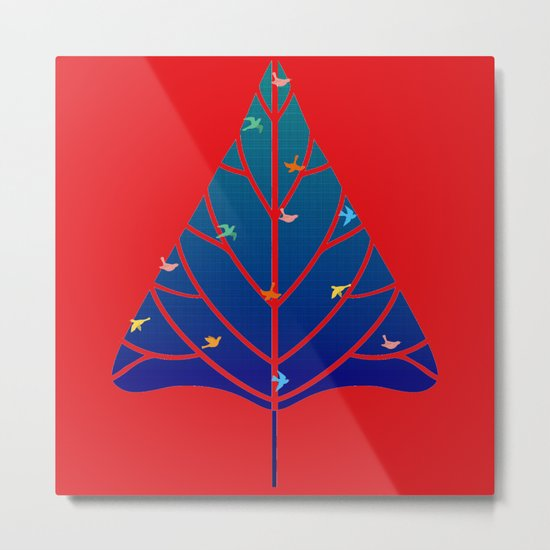 Tree with birds (blue-red) Metal Print