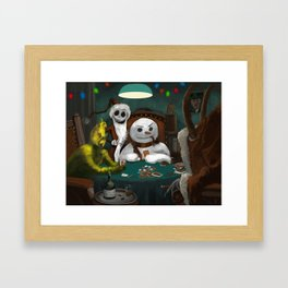 Holiday Horrors Playing Poker Framed Art Print
