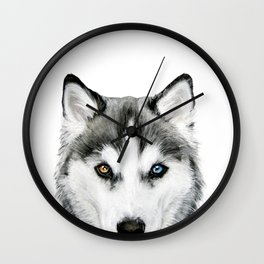 Siberian Husky dog with two eye color Dog illustration original painting print Wall Clock