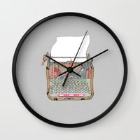 letter Wall Clocks featuring I DON'T KNOW WHAT TO WRITE YOU by Bianca Green