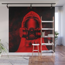 Toxic environment RED / Halftone hazmat dude Wall Mural