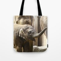 baby elephant Tote Bags featuring Baby Elephant by Päivi Vikström