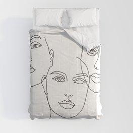 Faces III Line Art Comforters