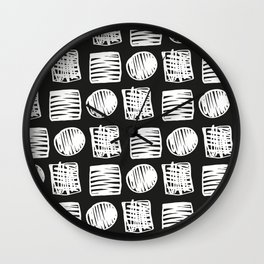 Modern hand drawn black white brushstrokes squares dots geometrical Wall Clock