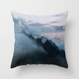 Dolomite Mountains Sunset covered in Clouds - Landscape Photography Throw Pillow