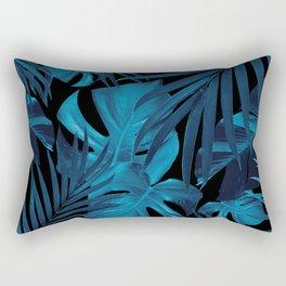 Tropical Jungle Night Leaves Pattern #2 #tropical #decor #art #society6 Rectangular Pillow