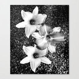 White Lilies on Black Glitter #1 #floral #decor #art #society6 Canvas Print