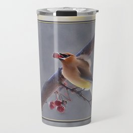 Cedar Waxwing With Berry Travel Mug