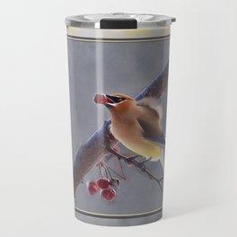 Cedar Waxwing With Berry Travel Mug