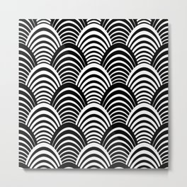 Black and White Art Deco Pattern Metal Print