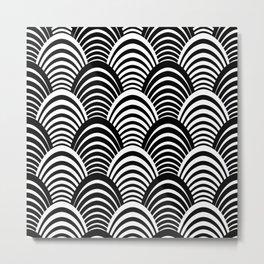 Black and White Art Deco Pattern Metal Print
