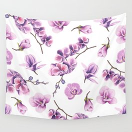 Orchid Flowers Pink and Purple Wall Tapestry