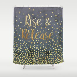 Rise and Release Yoga Meditation Shower Curtain