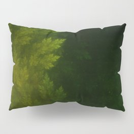 Beautiful Fractal Pines in the Misty Spring Night Pillow Sham