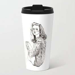 Girl in a Sweater, ink Travel Mug