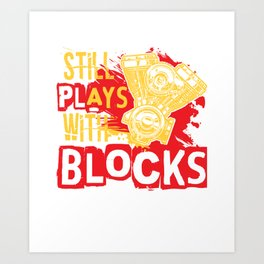 Still plays with Blocks speedshop motor V8 race Art Print