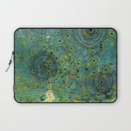 Blue & Green Abstract Art Collage Laptop Sleeve