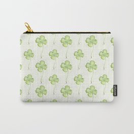 Four Leaf Clover Lucky Charm Pattern Watercolor Carry-All Pouch