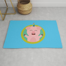 Unicorn Pig in green circle Rug