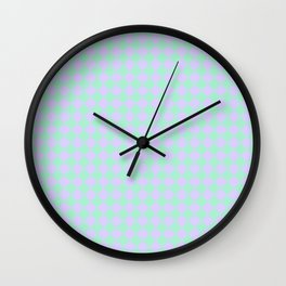 Magic Mint Green and Pale Lavender Violet Diamonds Wall Clock