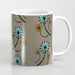 Mid Century Modern Dandelions on brown Coffee Mug