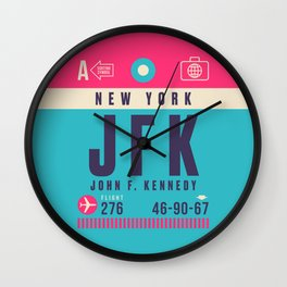 Retro Airline Luggage Tag - JFK New York Wall Clock