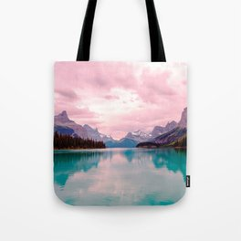 Mountains in Violet Pink Blue Tote Bag