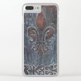 Fleur De Lis Patina Plaque - Original Art by Tracy Sayers Trombetta Clear iPhone Case