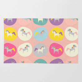 Cute Unicorn polka dots pink pastel colors and linen texture #homedecor #apparel #stationary #kids Rug