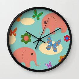 elephants in the sky Wall Clock
