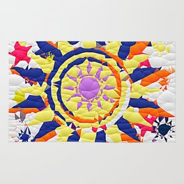 Colorful Quilted sun pattern Abstract Rug