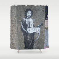 banksy Shower Curtains featuring Banksy Hitchhiker to Anywhere (Charles Manson) by Limitless Design