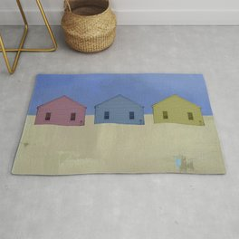 Beach Cottages, colorful houses, coastal, row houses Rug