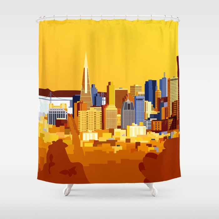 San Francisco On A Sunny Day Shower Curtain By Edytaj