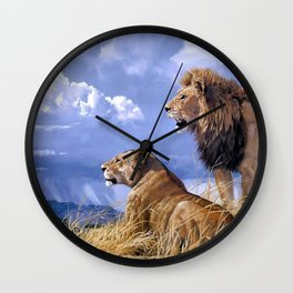 Couple Of Lions Resting In Savannah Ultra HD Wall Clock