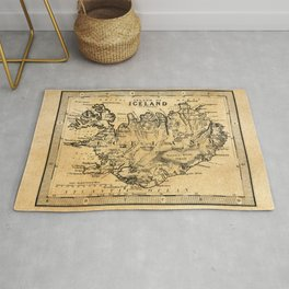 Old Map of Iceland Rug
