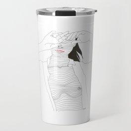 line drawing of a beautiful muse Travel Mug